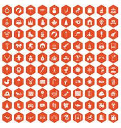 100 happy childhood icons hexagon orange vector