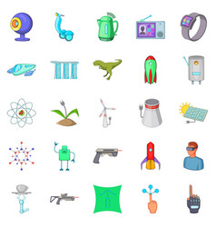 future technology icons set cartoon style vector image