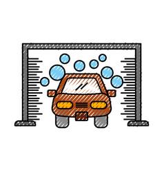 Automatic car wash shampoo service center icon vector