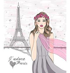 Paris eiffel tower postcard vector