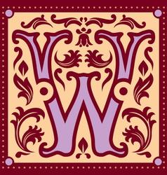 vintage letter W vector image