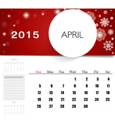 2015 calendar monthly calendar template for april vector