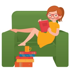 Girl reading a book sitting in a chair vector