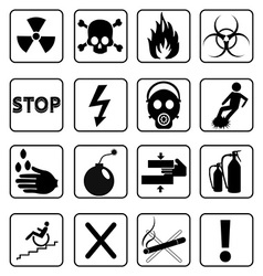 Danger signs icons set vector