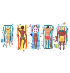 Summer beach people on sun lounger icons vector