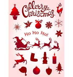 Set of christmas elements for design vector
