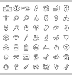 Medical related icon set in thin line style vector