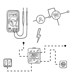 Voltmeter electricity meter electrical circuit vector