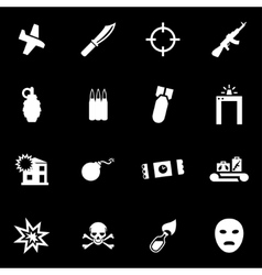 White terrorism icon set vector