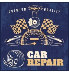 Car repair retro poster vector