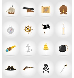 Pirate flat icons 17 vector