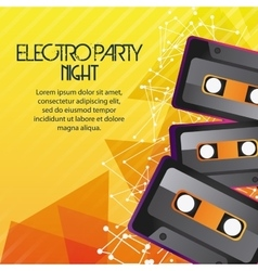 Cassette icon electro party design vector
