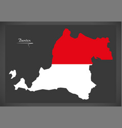 Banten indonesia map with indonesian national flag vector
