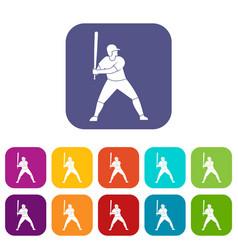 Baseball player with bat icons set flat vector