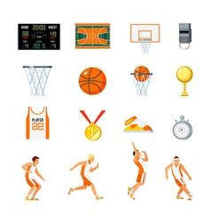 Basketball Orthogonal Icons Set vector image vector image