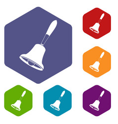 Bell icons set hexagon vector
