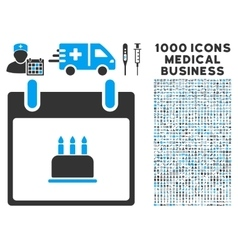 Birthday cake calendar day icon with 1000 medical vector