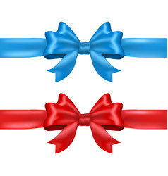 blue and red tied ribbon bows vector image vector image