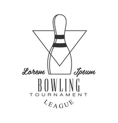 Bowling tournament league vintage label black and vector