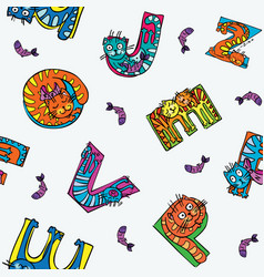 Cat alphabet seamless pattern vector