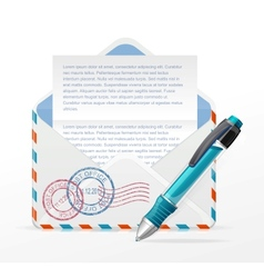 detailed envelope and ink pen vector image