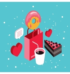 Donut shop Cake dessert Delicious food isometric vector image vector image