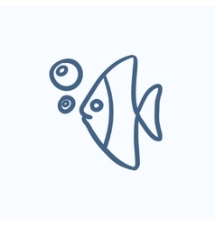 Fish under water sketch icon vector image vector image