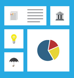 Flat icon gain set of document parasol bubl and vector