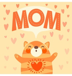 Greeting card for mom with cute kitten vector image vector image