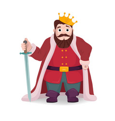 King character knight posing with sword and crown vector