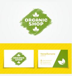 Organic shop logo set vector