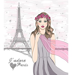 Paris eiffel tower postcard vector image