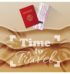 Passport and boarding pass beach as background vector