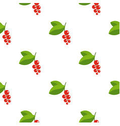 Red currants branch with green leaves pattern flat vector