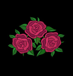 Red roses embroidery on black background vector