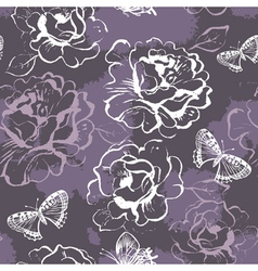 Seamless floral pattern with roses and butterflies vector image