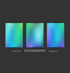 Set of trendy holographic backgrounds for cover vector