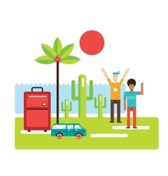 Summer trip Vacation Tourism Travel concept Happy vector image vector image