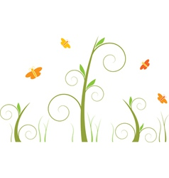 Swirls and butterflies vector