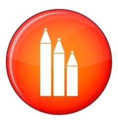 Three pencils icon flat style vector