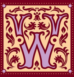 vintage letter W vector image vector image