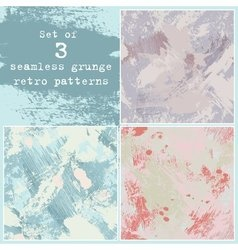 Set of three seamless grunge patterns vector