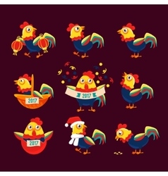 Rooster cartoon character set with a cock vector