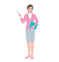 Female teacher with a pointer and a book vector