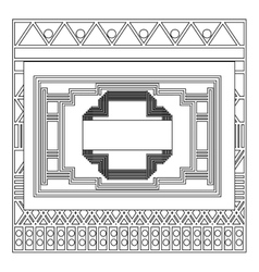 Grayscale pattern with art deco frame vector