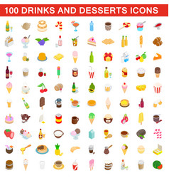 100 drinks and desserts icons set isometric style vector image