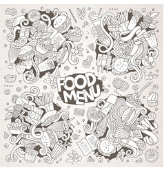 fast food doodles hand drawn sketchy vector image