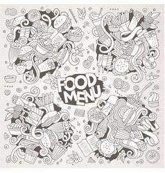 Fast food doodles hand drawn sketchy vector