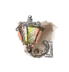 vintage lanterns lamp hand drawn vector image