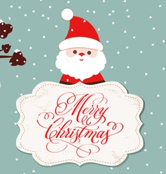 Merry christmas card with santa claus and hearts vector